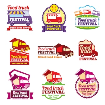 Straatvoedsel festival kleurlabels instellen. café stedelijk, mobiele markt, evenement en transport, vectorillustratie