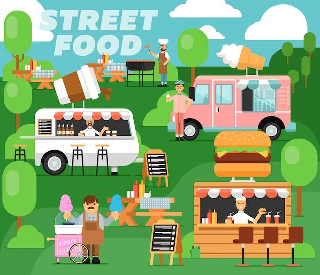 Straatvoedsel festival poster in vlakke stijl