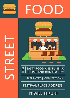 Straatvoedsel festival uitnodiging poster met hamburger café