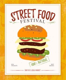 Straatvoedsel hamburger illustratie