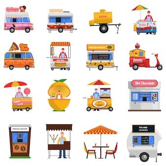 Straatvoedsel icons set