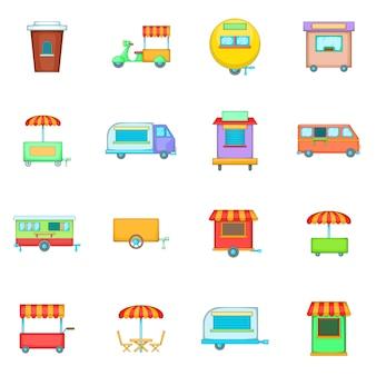 Straatvoedsel kiosk voertuig pictogrammen instellen