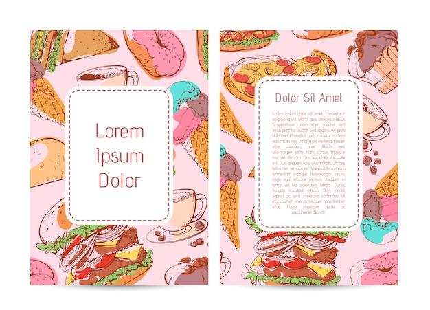Straatvoedsel menudekking met fastfood-schetsen