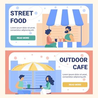 Straatvoedsel outdoor cafe flat banner set