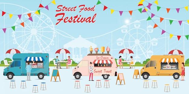 Straatvoedsel vrachtwagen festival