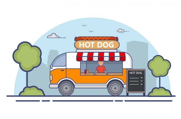 Straatvoedsel. vrachtwagen in hotdogs.