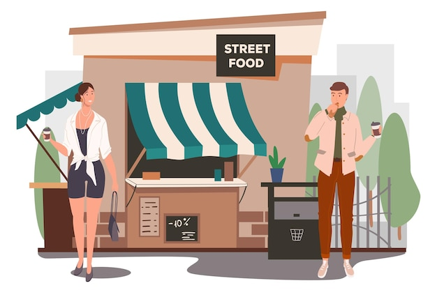 Straatvoedsel winkel bouwen webconcept. man en vrouw die ontbijt eten, koffie drinken in het straatcafé. klanten bij cafetaria