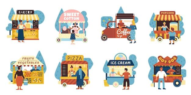 Straatvoedselpictogrammen die met verkopers en koperssymbolen vlakke geïsoleerde vectorillustratie worden geplaatst