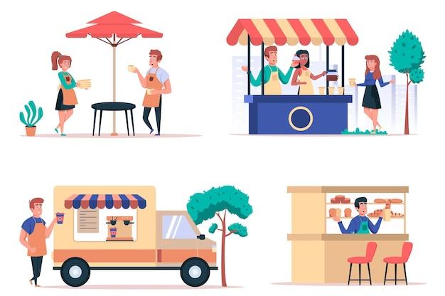 Straatvoedselwinkel geïsoleerde elementen set bundel van café met obers verkoop van koffie in kiosk en auto