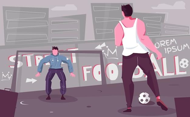 Straatvoetbal illustratie