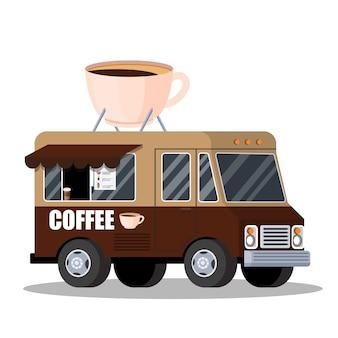 Straatvrachtwagen met koffie. warme smakelijke drank