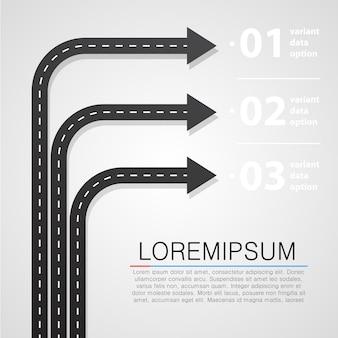 Straatweg en teken infographics ontwerpsjabloon