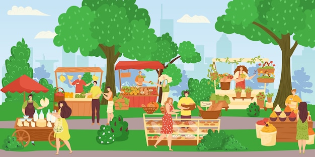 Straatwinkelsmarkt, mensen die verkopen en winkelen bij het lopen van straatillustratie. bakkerij-foodtruck, bloemenwinkel, fruit- en groentekraam. marktplaats van kiosken met producten, klanten.