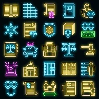 Strafrecht pictogrammen instellen. overzicht set van strafrecht vector iconen neon kleur op zwart