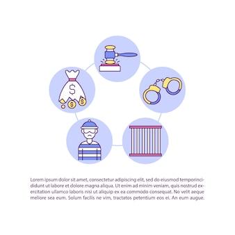 Strafrechtelijke rechtsmiddelen voor inbreuk concept lijn pictogrammen met tekst