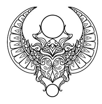 Strakke lijnen mandala egyptische scarabee, carabaeus sacer, voor het kleuren van pagina's, laser gesneden, papier knippen, graveren of afdrukken op producten. vector illustratie.