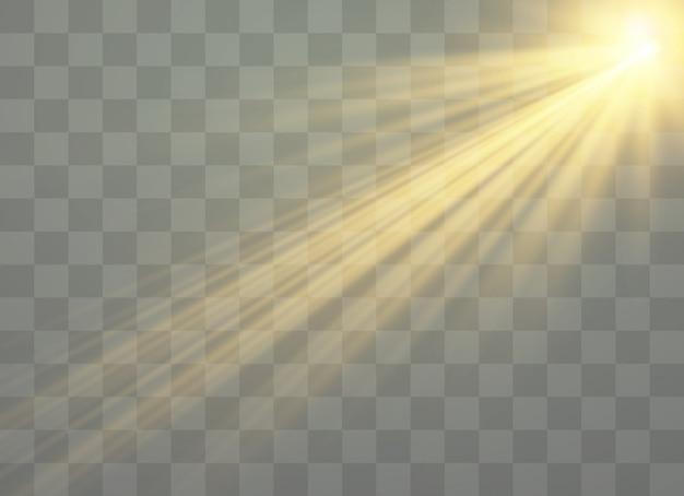 Stralen van licht en magische sprankelingen, glitter, vonk, zonneflits