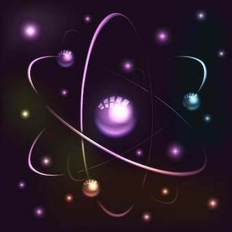 Stralend atoommodel. nucleair model van atoom met elektronen en positronen. illustratie