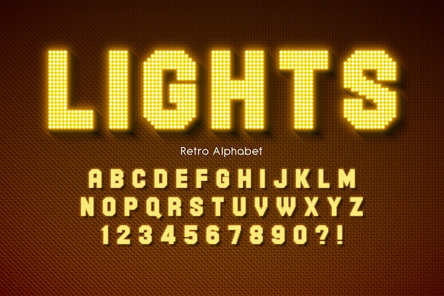 Stralend led licht alfabet, extra gloeiend lettertype.