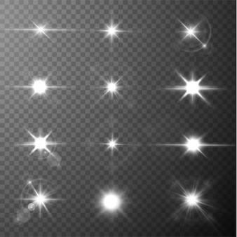 Stralend licht sterren zon schijnt felle lichtstralen met realistische schittering