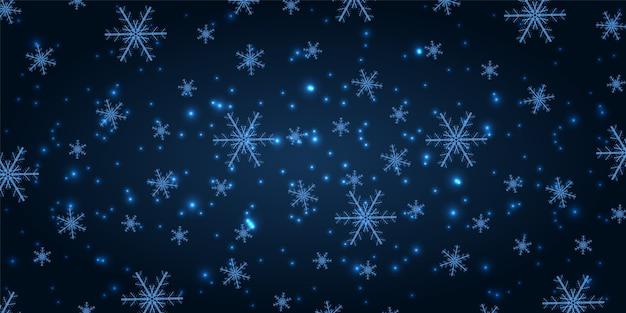 Stralende sneeuw op een marineblauwe nieuwjaarachtergrond.