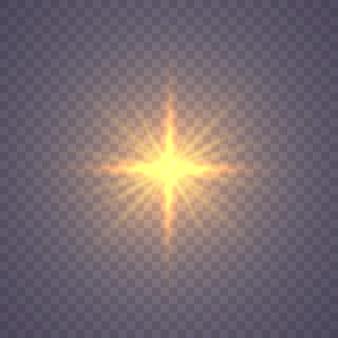 Stralende ster, de zon deeltjes en vonken met een hoogtepunt effect