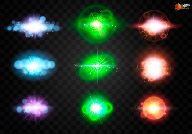 Stralende ster, de zonnedeeltjes en vonken met een hoogtepunteffect, kleuren bokeh lichten glitter en pailletten.