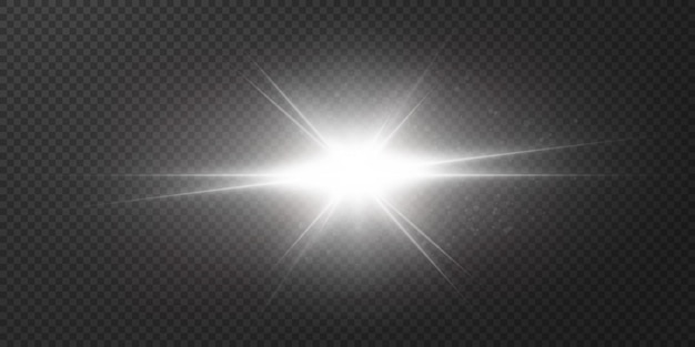 Stralende sterren geïsoleerd op een transparante witte achtergrond. effecten, schittering, uitstraling, explosie, wit licht, set. het schijnen van sterren, prachtige schittering van de zon.