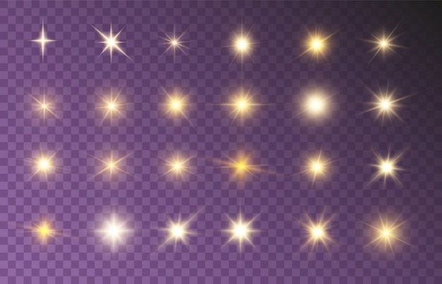 Stralende stralen set heldere mooie sterren fonkelende prachtige lichten