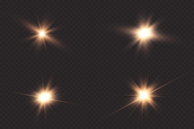 Stralende zon, felle flits. het centrum van een heldere flits.