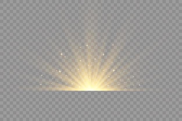Stralende zon geel gloeiend licht met sprankelende magische stofdeeltjes