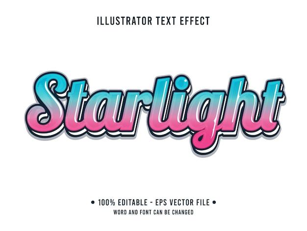 Stralight bewerkbaar teksteffect 3d eenvoudige stijl met kleurovergang blauw roze kleur