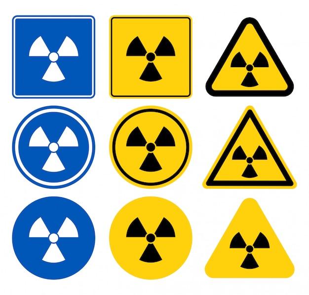 Straling pictogram, straling symbool, wit pictogram op blauwe achtergrond, vectorillustratie