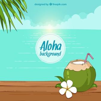 Strand achtergrond met kokosnoot en hand getekende bloem