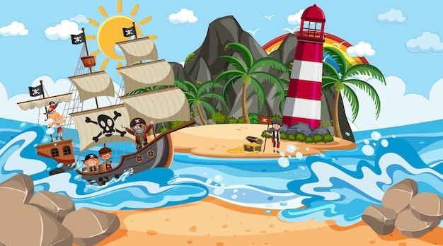 Strand bij dagscène met stripfiguur voor piratenkinderen op het schip