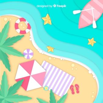 Strand bovenaanzicht in papieren stijl