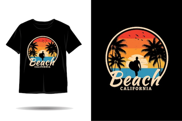 Strand californië silhouet tshirt ontwerp