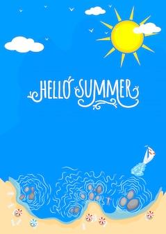 Strand en zee hallo zomer. handgemaakte typografie.