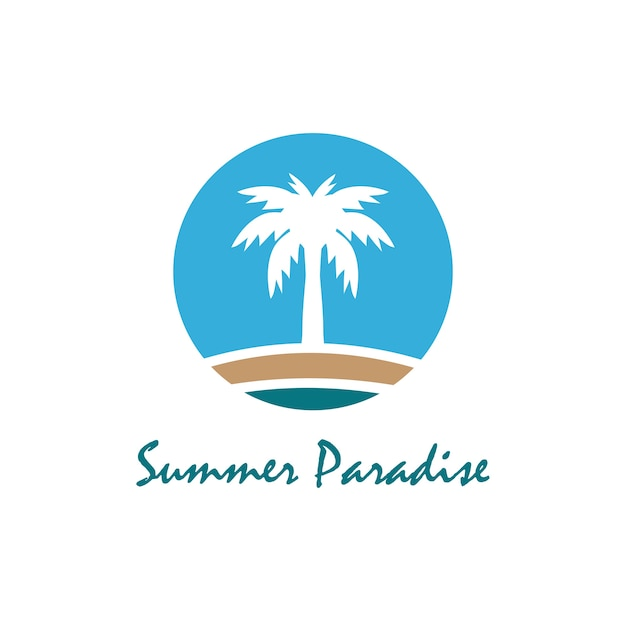 Strand en zomer thema-logo met palm drie ontwerpsjabloon
