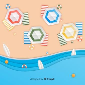 Strand in papieren stijl