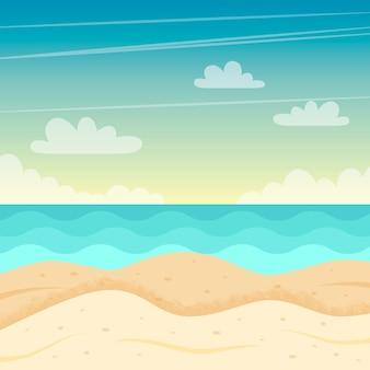 Strand landschap. kleurrijk zomerontwerp.