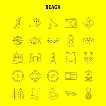 Strand lijn pictogram
