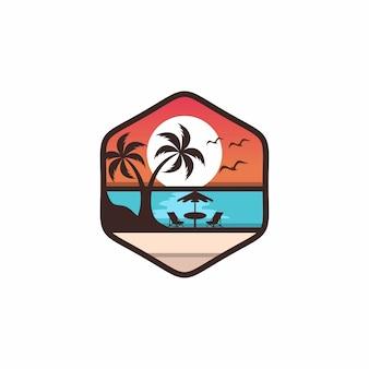Strand logo vector ontwerpsjabloon