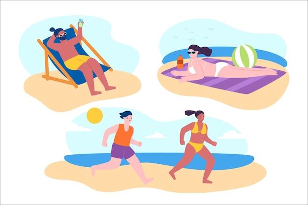 Strand mensen collectie Premium Vector