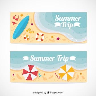 Strand met de zomer accessoires banners