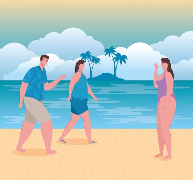 Strand met mensen, vrouwen en man op het strand, zomervakanties en toerisme concept
