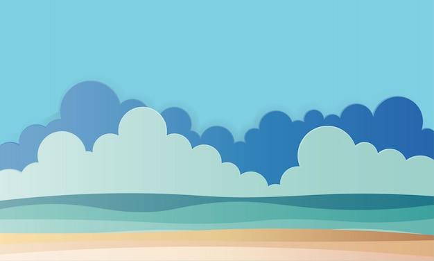 Strand met oceaan achtergrond papier kunst stijl illustratie