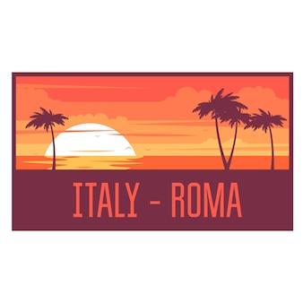 Strand met palmbomen en zee - italië rest concept