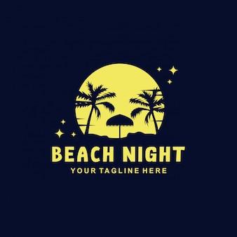Strand nacht logo sjabloon