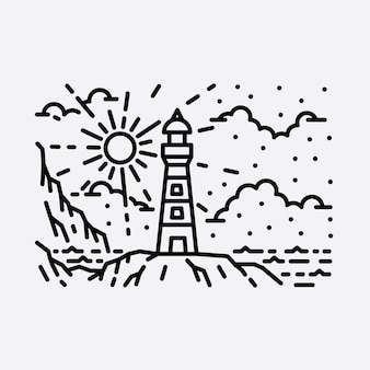 Strand natuur vuurtoren avontuur wilde lijn badge patch pin grafische illustratie kunst t-shirt design